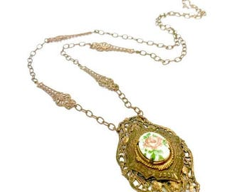 Victorian Revival Pendant Necklace, Brass Tone Filigree, Painted Glass Cabochon Centerpiece, Dusty Pink Rose, Vintage, Long Brass Chain