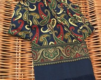 Vintage Liberty cravat silk navy blue beige red paisley classic neck tie scarf gent chap Goodwood