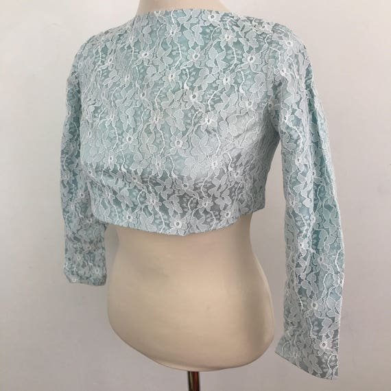 Vintage crop top cropped blouse 1960s lacy shirt baby blue Frilly Blouse Steampunk Victoriana top vintage bridal wedding UK 8 60s