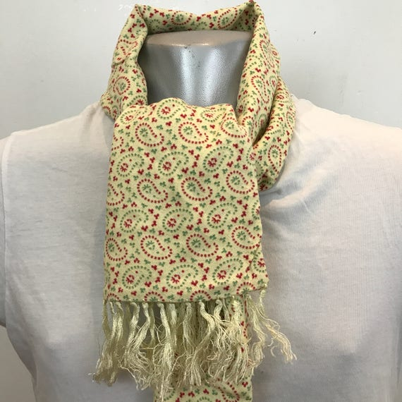 Vintage gents scarf Paisley wool scarf beige long oblong tassel Sammy Mod vintage gent cravat cream Goodwood scooter gentleman