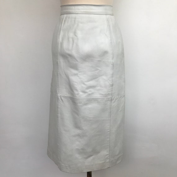 White leather skirt real 1980s pencil skirt UK 10 12 trashy 80s style sexy fetish leather wiggle high waist