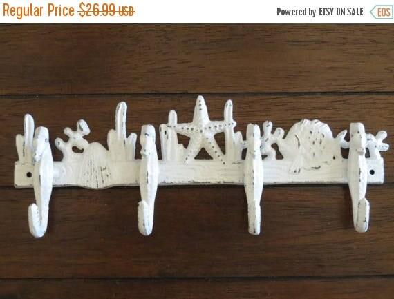 FALL SALE Sea Theme Rack Nautical Hook Cast Iron Antique