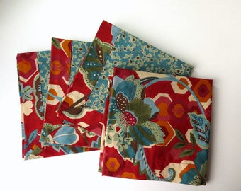 Double-sided floral napkins, hostess gift, handmade cloth napkins, eco-friendly, housewarming gift, mitered corners, reusable, set of 4