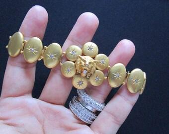 Genuine Diamond and Solid 10K Yellow Gold Striking Wolf Lion Head Medallion 1900's Antique Victorian Starburst Round Disc Oval Link Bracelet
