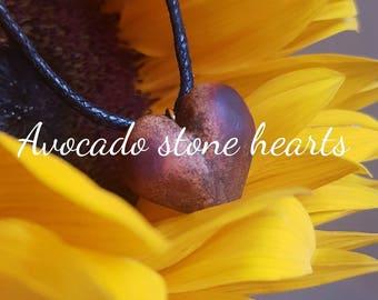 Carved heart necklace - avocado stone