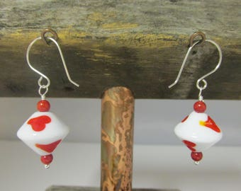 Heart Earrings, Lampwork Beads, Heart Beads, Argentium, Red Coral