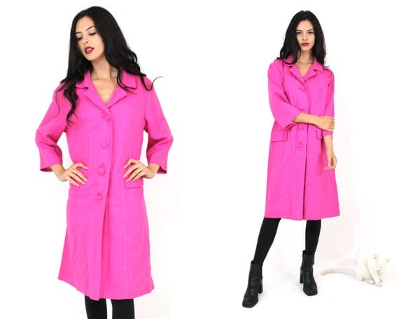 Vtg 60s Hot Pink Swing Coat SZ Small Medium Large Mod