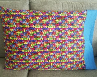 "Autism awareness handmade ""magic"" pillowcase for standard size pillows"