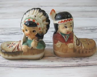 Vintage Pottery Salt and Pepper Shakers, American Indian Children Salt and Pepper Shakers