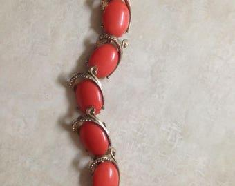 Orange and Gold 1950's Bracelet