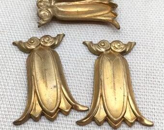 4 Vintage Floral Brass Metal Stampings