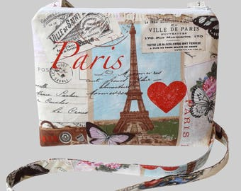 Small Cross Body Bag/ Messenger Bag/ Paris Print.