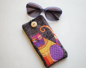 Glasses case, sunglasses case, eyeglasses case, Case for sunglasses, Cat sunglass case, Quilted eyeglass case, soft glasses case, Cat
