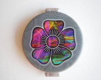 Pocket mirror, hand mirror, Pocket mirror art, Flower mirror, Printed pocket mirror, Flower, Gift for her, Woman gift, Flower accessories