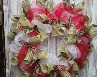 Holly pattern christmas wreath