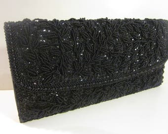 Finely-Beaded Vintage Black Baguette Clutch by Walborg A Great Accessory for Your Little Black Dresses