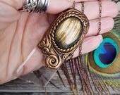 Shivani - Optical Calcite & Golden Flash Labradorite Crystal Energy Pendant - Renewed Energy, Mystical Vision