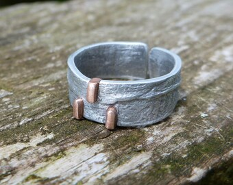 Ring made of aluminum and copper handcrafted jump ring