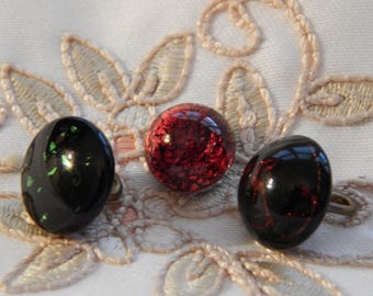 Shiny Foil or Glittering Goldstone Under the Glass - 3 Antique Buttons
