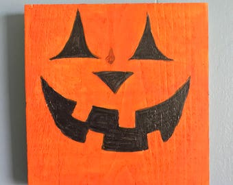 jack o lantern rustic wooden halloween decoration - Wooden Halloween Decorations