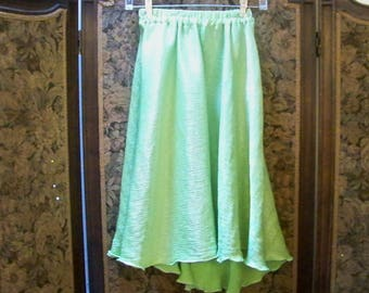 Girl's Lime Green Crinkled Fabric Skirt With A High / Low Hem - Size 10-12 - Vintage Lucy Littles - 133