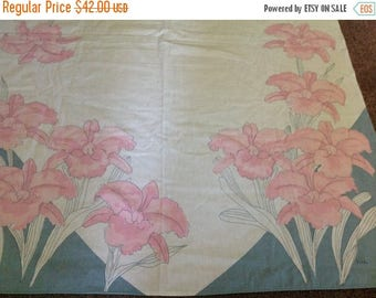 4th of July sale Vintage Vera Tablecloth Pink Flowers Blue Pink and White Tablecloth Floral Tablecloth