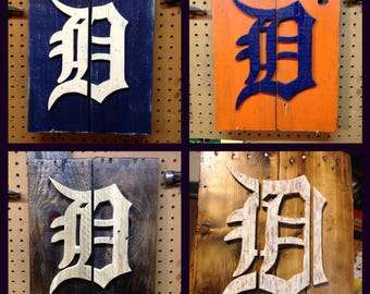 Detroit Tigers Old English D Reclaimed Rustic Wood Sign