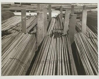 Lumber bridge construction vintage art photo