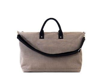 Canvas Weekender Bag, Canvas Duffle Bag, Large Canvas Tote Bag, Waxed Canvas Bag, Tan Stripe