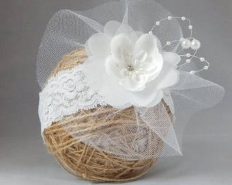 Fascinator Hair Clip, hairband for toddlers, teenagers, white tulle flower