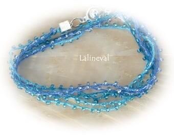 MULTISTRAND bracelet double turn blue beads