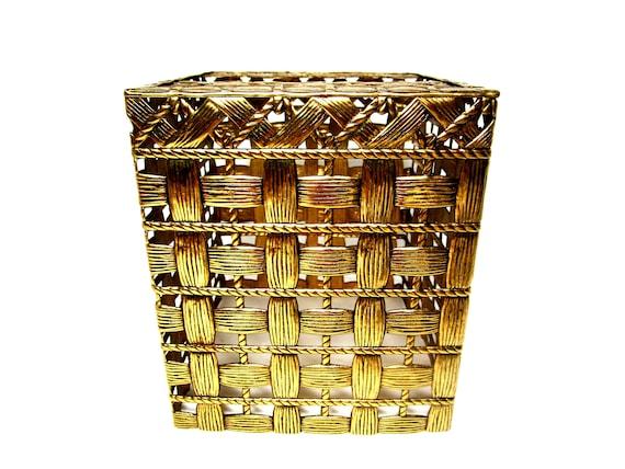 Brass Tissue Holder, Woven Brass Tissue Box, Brass Bath Decor, Tropical Beach Bath Decor, Brass Basket Weave Tissue Holder