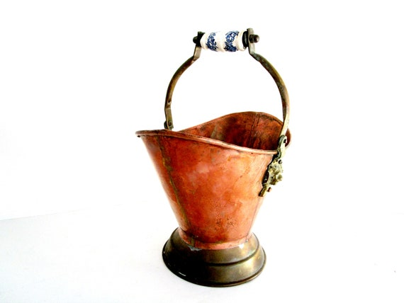 Copper Coal Scuttle, Copper Bucket, Ceramic Delft Handle, Copper Pail, Copper Farmhouse Cottage Decor