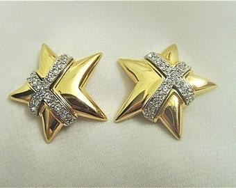Joan Rivers Gold Star Earrings with Crystal Wrap - Pierced - S2295