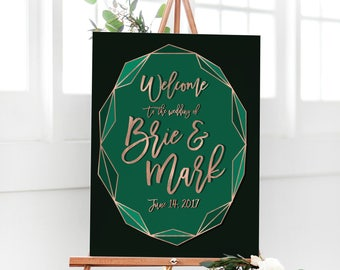 Geometric Wedding Sign with Copper and Emerald Green for Modern Wedding Reception Signage Rose Gold