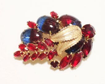"""Rare Weiss Blue And Red Two Toned """"Cuba"""" Rhinestone Brooch"""