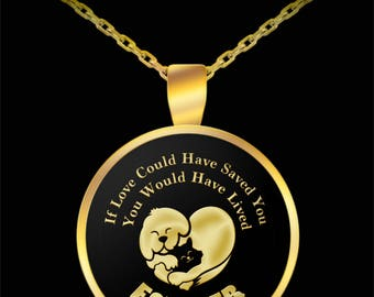 Dog Cat Love Forever Pet Bereavement Gift Necklace Animal Lover (Choice of Metal)