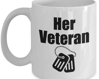 Her Veteran Mug Gift for Husband Boyfriend Couples His Hers Military Veterans Commander Coffee Cup