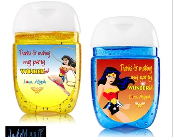 Wonder Woman [inspired] Hand Sanitizer labels birthday party favors-- Peel and stick labels- Free Shipping!