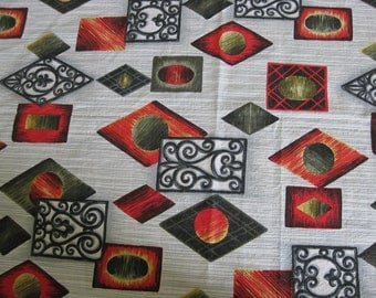 French barkcloth fabric with geometric pattern by Cotal