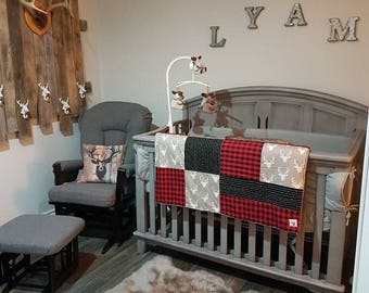 Baby blanket ,deer heads, red and black checkers, black grid, choice of minky or faux fur for the back
