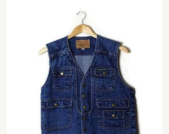 ON SALE Vintage Snap Button Denim Vest from 1980's*