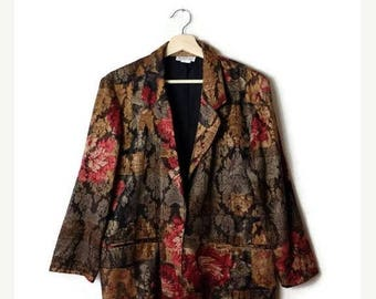 ON SALE Vintage Oversized  Dark Floral Printed Slouchy Blazer from 1980's*