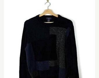 WINTER SALE 20% OFF Black/Blue/Grey Color Blocked Sweater/Jumper from 90's/Boyfriend sweater*