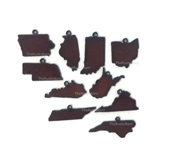State Charms Iowa Ohio Kentucky Tenn  NCarolina West Virginia Nebraska Illinois (set of 3) Pendant Cutout Rustic Rusty Rusted Recycled Metal