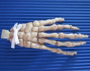 "3"" Creepy Skeleton Hair Clip with White Bow-Dia De Los Muertos / Halloween / Hair Accessory"