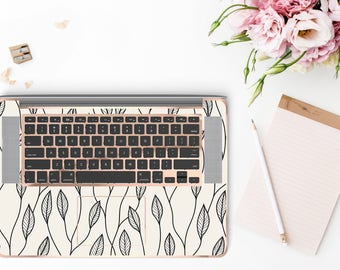 Minimalist Floral and Rose Gold Detailing Inner Keyboard Tray Vinyl Skin for Apple Air & Retina , Macbook Pro 2017 - Platinum Edition