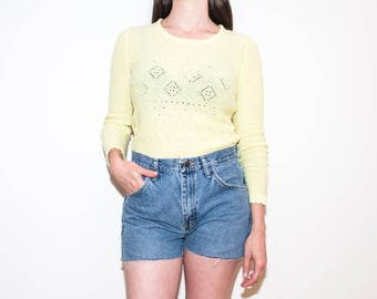 70s light yellow see-through knit / fitted eyelets pullover sweater / size M