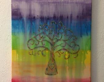 Original Acrylic On Canvas Tree Of Life Rainbow Wall Art