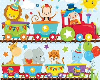80% OFF SALE Circus party train clipart commercial use, Fun party train vector graphics, digital clip art, digital images - CL854